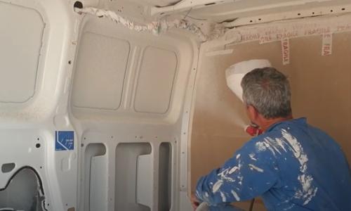 projection de liege liège fourgon aménagé camion vanlife van life isolation écologique thermocork